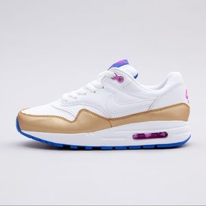 Nike air max 1 white gold women's shoes